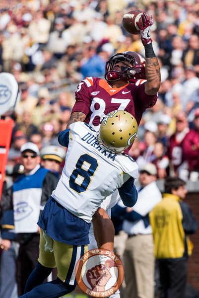 Eric Kumah (83) attempts to make a one-handed catch over Step Durham (8) in Saturday's matchup between Virginia Tech and Georgia Tech, Saturday, Nov. 11, 2017. (Special by Cory Hancock)