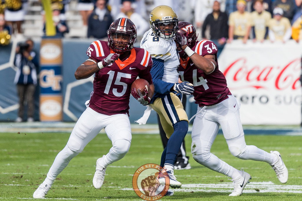 Sean Savoy (15) cuts upfield on a jet sweep in Saturday's matchup between Virginia Tech and Georgia Tech, Saturday, Nov. 11, 2017. (Special by Cory Hancock)