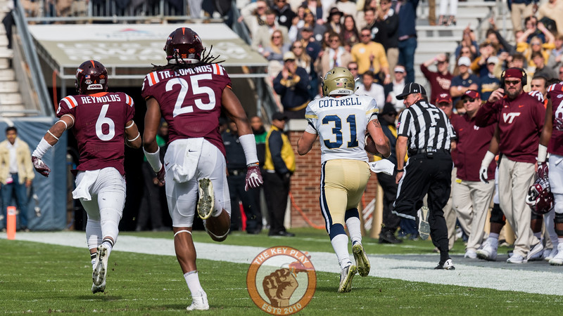 Mook Reynolds (6) and Tremaine Edmunds (25) chase Georgia Tech's Nathan Cottrell (31) in Saturday's matchup between Virginia Tech and Georgia Tech, Saturday, Nov. 11, 2017. (Special by Cory Hancock)