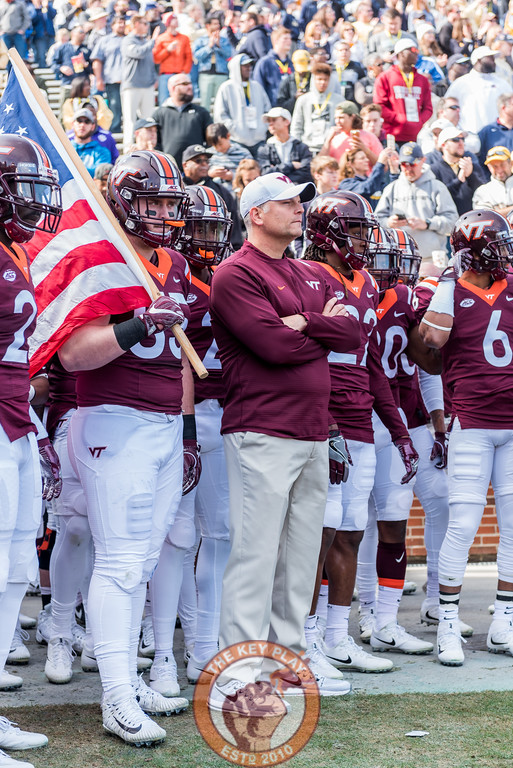 Head coach Justin Fuente and the Hokies stand ready to take the field before Saturday's matchup between Virginia Tech and Georgia Tech, Saturday, Nov. 11, 2017. (Special by Cory Hancock)