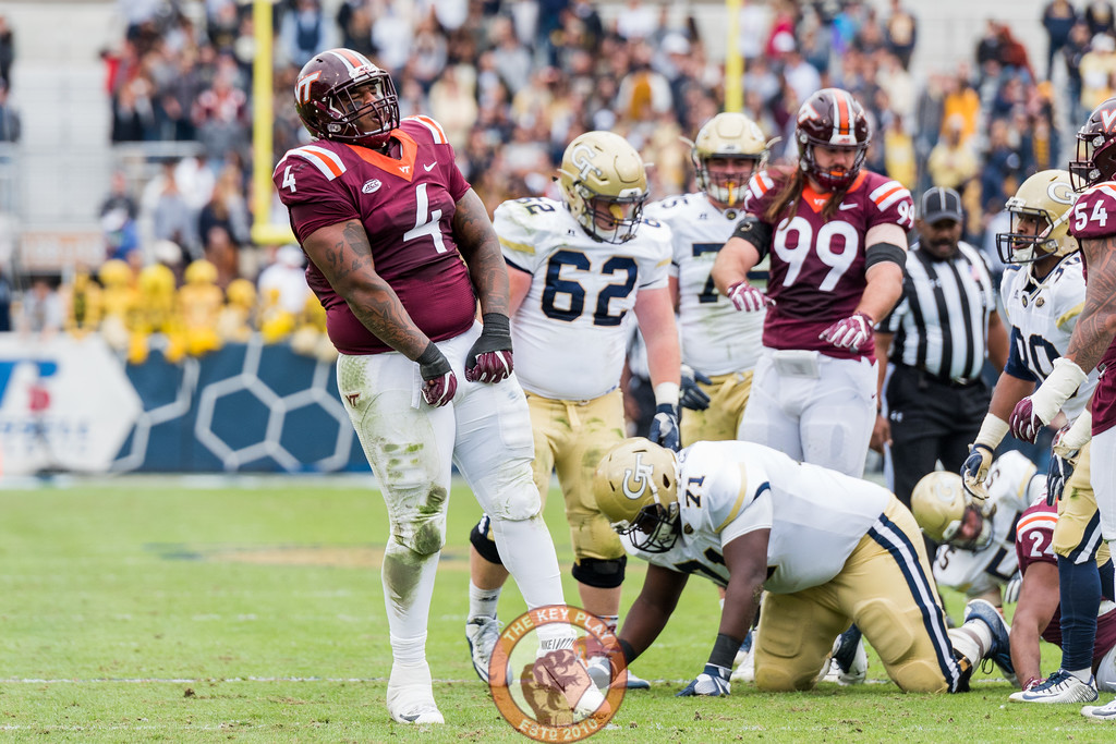Tim Settle (4) celebrates a tackle in Saturday's matchup between Virginia Tech and Georgia Tech, Saturday, Nov. 11, 2017. (Special by Cory Hancock)