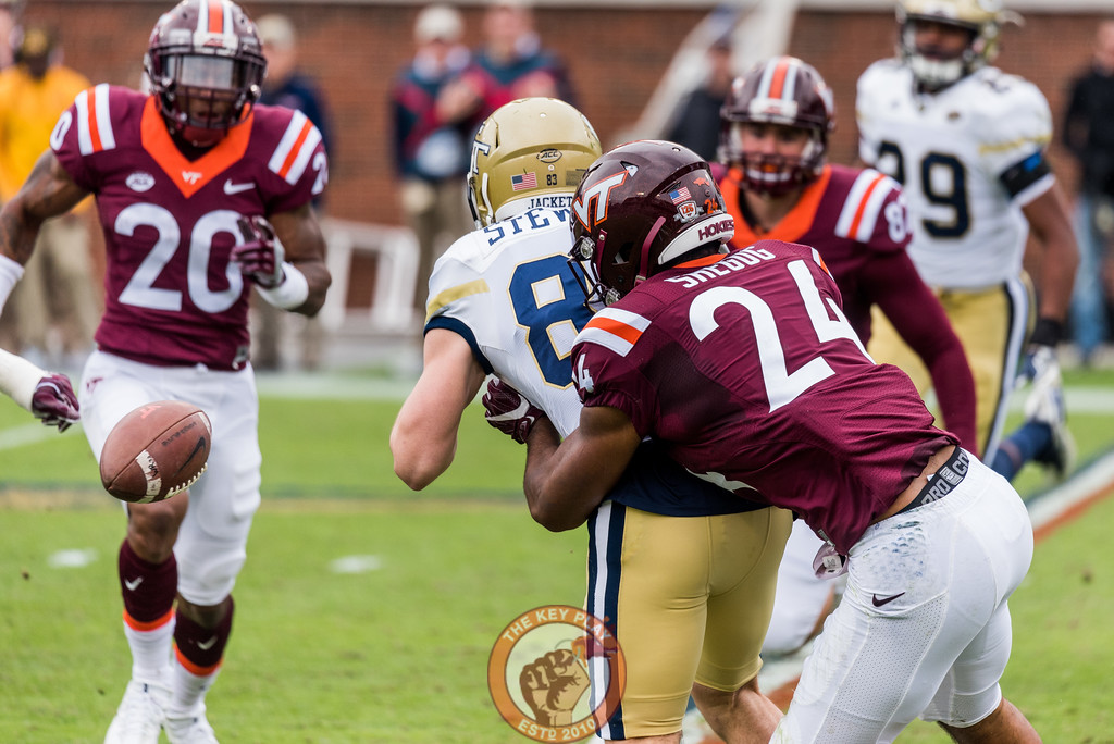 Anthony Shegog (24) forces a fumble while covering a punt in Saturday's matchup between Virginia Tech and Georgia Tech, Saturday, Nov. 11, 2017. (Special by Cory Hancock)