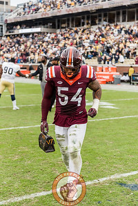 Andrew Motuapuaka runs off the field with Lunch Pail in hand after Saturday's matchup between Virginia Tech and Georgia Tech, Saturday, Nov. 11, 2017. (Special by Cory Hancock)