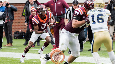 Greg Stroman (3) returns an interception in Saturday's matchup between Virginia Tech and Georgia Tech, Saturday, Nov. 11, 2017. (Special by Cory Hancock)