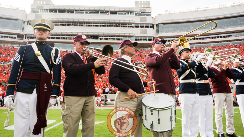 Current and former members of the Corps of Cadets' band, the Highty Tighties, play Tech Triumph after the team runs onto the field. (Mark Umansky/TheKeyPlay.com)