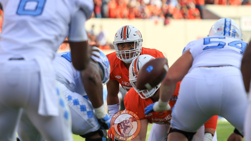 LB Andrew Motuapuaka looks at the UNC offensive front pinned deep against their own endzone. (Mark Umansky/TheKeyPlay.com)