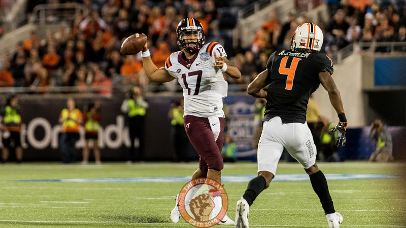 Josh Jackson throws during the Camping World Bowl between Virginia Tech and Oklahoma State in Orlando, Fl., Thursday, Dec. 28, 2017. (Special by Cory Hancock)