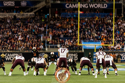 Josh Jackson lines up with the Virginia Tech offense in the Camping World Bowl between Virginia Tech and Oklahoma State in Orlando, Fl., Thursday, Dec. 28, 2017. (Special by Cory Hancock)