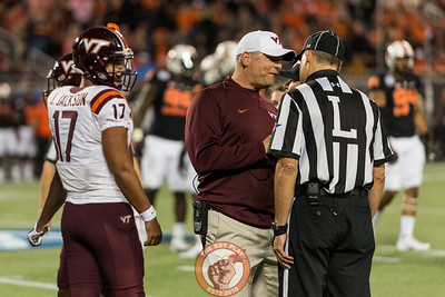 Justin Fuente reacts to a no-call after a helmet-to-helmet hit on quarterback Josh Jackson (17) in the Camping World Bowl between Virginia Tech and Oklahoma State in Orlando, Fl., Thursday, Dec. 28, 2017. (Special by Cory Hancock)