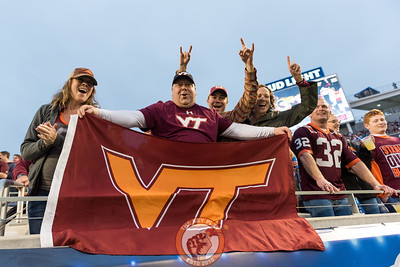 Fans celebrate a Virginia Tech touchdown in the Camping World Bowl between Virginia Tech and Oklahoma State in Orlando, Fl., Thursday, Dec. 28, 2017. (Special by Cory Hancock)