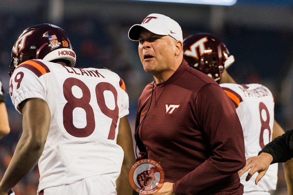Justin Fuente reacts to a no-call after a helmet-to-helmet hit on quarterback Josh Jackson in the Camping World Bowl between Virginia Tech and Oklahoma State in Orlando, Fl., Thursday, Dec. 28, 2017. (Special by Cory Hancock)