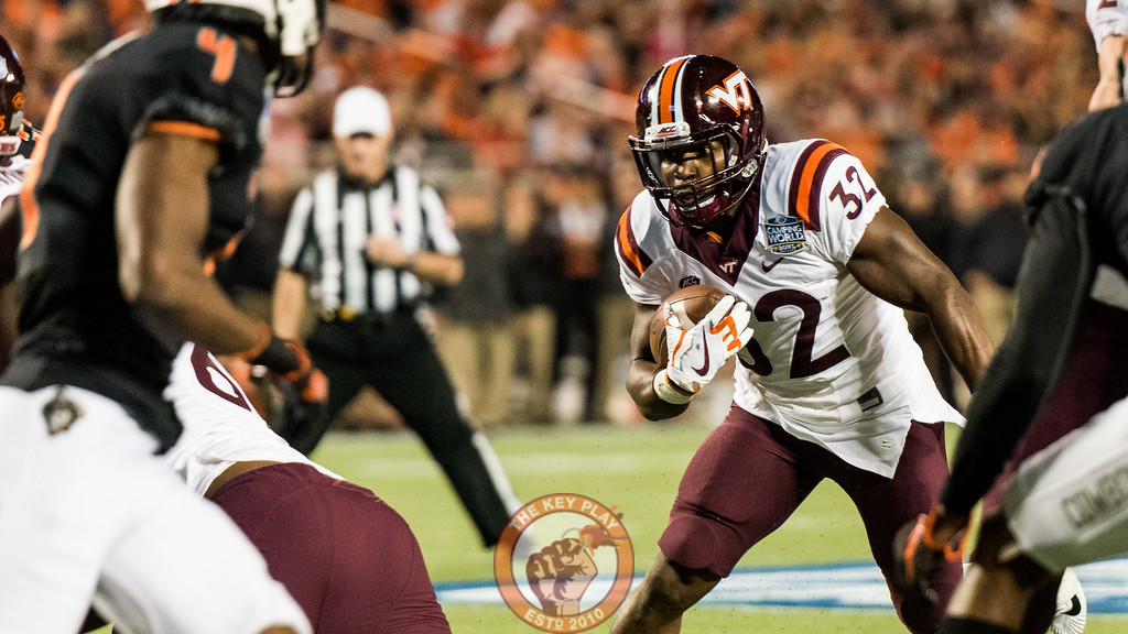 Steven Peoples (32) runs up the middle near the goal line in the Camping World Bowl between Virginia Tech and Oklahoma State in Orlando, Fl., Thursday, Dec. 28, 2017. (Special by Cory Hancock)