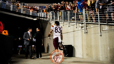Eric Kumah (83) walks through the tunnel as Virginia Tech fans cheer after a 21-30 loss to Oklahoma State in the Camping World Bowl between Virginia Tech and Oklahoma State in Orlando, Fl., Thursday, Dec. 28, 2017. (Special by Cory Hancock) Kumah led the Hokies with 72 yards on five catches and one touchdown.