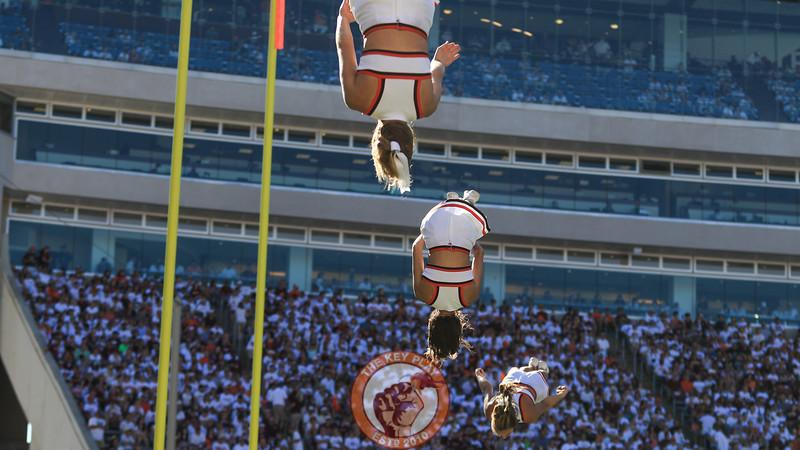 Virginia Tech cheerleaders flip high in the air during a break in the action. (Mark Umansky/TheKeyPlay.com)