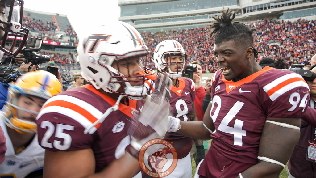 Trevon Hill (94) celebrates with Andrew Motuapuaka on the field after the game. The Hokies defeated Pittsburgh 20-14.