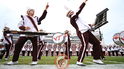 Members of the Marching Virginians perform on the field before the team entrance. (Mark Umansky/TheKeyPlay.com)