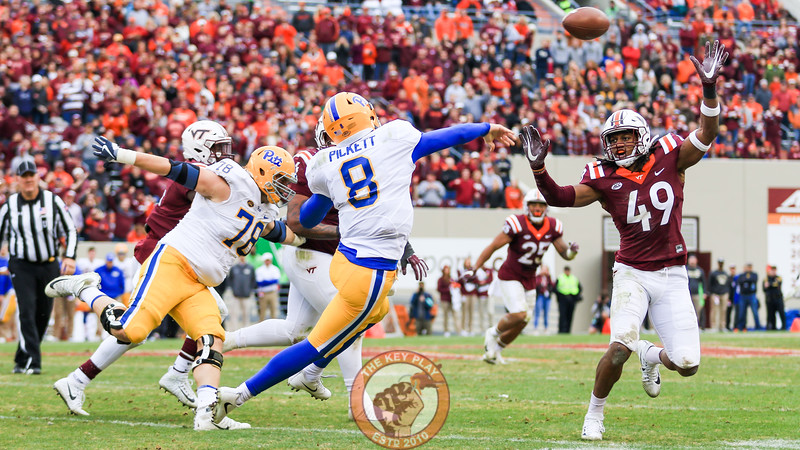 Tremaine Edmunds (49) tries to swat down a Pitt pass late in the game. (Mark Umansky/TheKeyPlay.com)