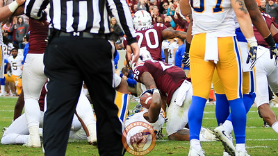 The Hokies stop Pittsburgh at the 1 yard line for a game winning goal line stand after facing first and goal with over a minute left. (Mark Umansky/TheKeyPlay.com)
