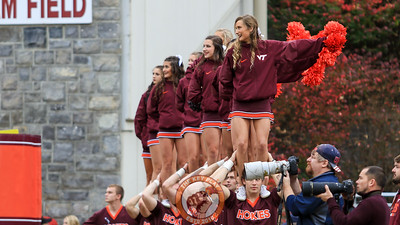 Hokies cheerleaders get ready for a Virginia Tech kickoff after the field goal. (Mark Umansky/TheKeyPlay.com)