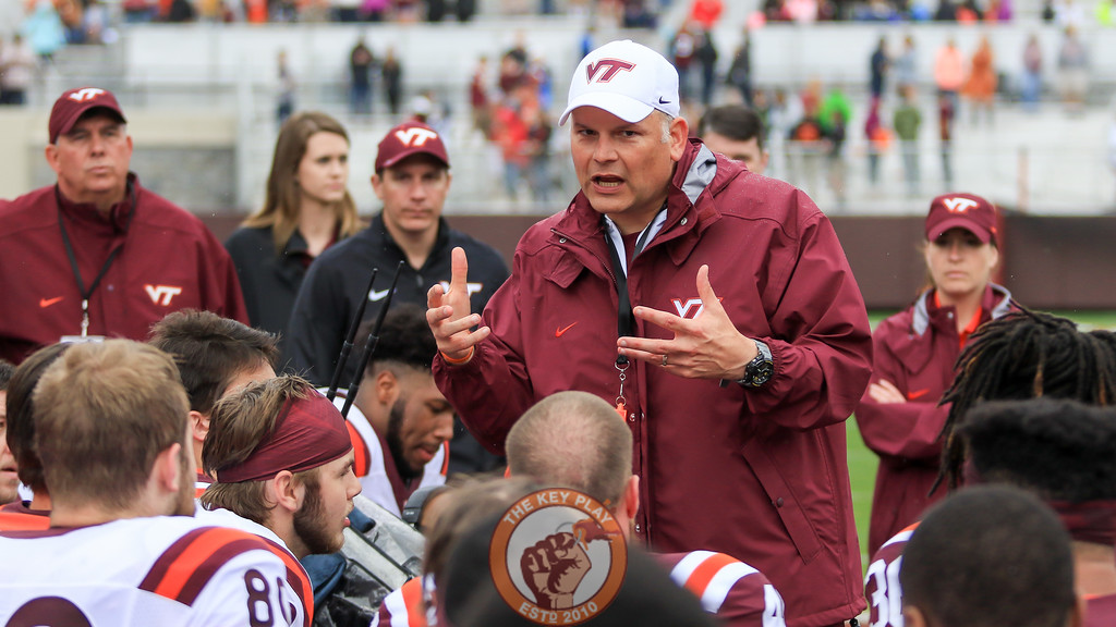 Head coach Justin Fuente speaks to his players after the end of the spring game and the official end of spring practices for the year. (Mark Umansky/TheKeyPlay.com)