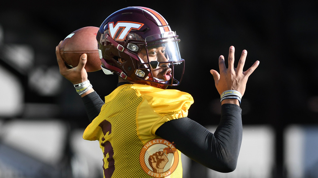 Virginia Tech Hokies quarterback A.J. Bush (6) looks to throw during practice. (Michael Shroyer/ TheKeyPlay.com)