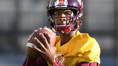 Virginia Tech Hokies quarterback Hendon Hooker (2) looks to throw during practice. (Michael Shroyer/ TheKeyPlay.com)