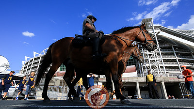 Prince George's County Police patrol outside the stadium on horseback before the teams arrive from their hotel. (Mark Umansky/TheKeyPlay.com)