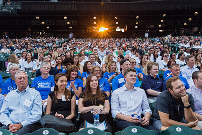 Attendees having fun at the Puget Sound Business Journal's Washington's Best Workplaces event at Safeco Field in Seattle on Thursday, August 3 , 2017. (BUSINESS JOURNAL PHOTO | Dan DeLong)