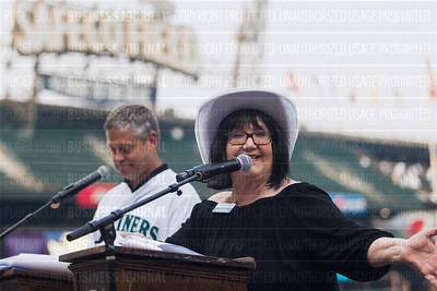 Patti Payne, Puget Sound Business Journal columnist, speaks during the PSBJ's Washington's Best Workplaces event at Safeco Field in Seattle on Thursday, August 3 , 2017. (BUSINESS JOURNAL PHOTO | Dan DeLong)