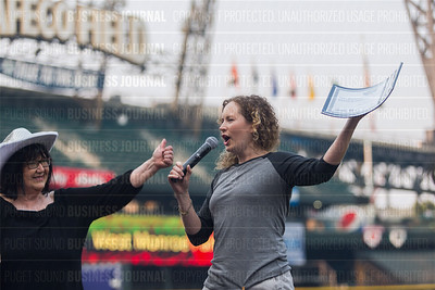Mandy Maxwell of Audienz, recipient of the second place award for 2017 Washington's Best Workplaces (10-49 employees), speaks during the Puget Sound Business Journal's Washington's Best Workplaces event at Safeco Field in Seattle on Thursday, August 3 , 2017. (BUSINESS JOURNAL PHOTO | Dan DeLong)