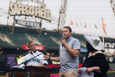 Justin Ridens of Prime Team Partners, Inc., recipient of the third place award for 2017 Washington's Best Workplaces (10-49 employees),  speaks during the Puget Sound Business Journal's Washington's Best Workplaces event at Safeco Field in Seattle on Thursday, August 3 , 2017. (BUSINESS JOURNAL PHOTO | Dan DeLong)