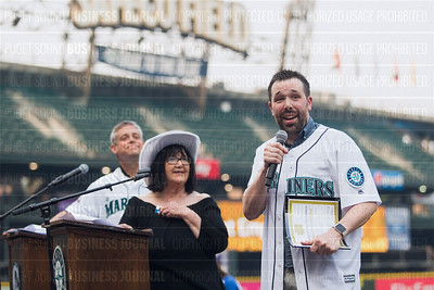Jamie Steven of Ookla, LLC, recipient of the first place award for 2017 Washington's Best Workplaces (50-99 employees), speaks during the Puget Sound Business Journal's Washington's Best Workplaces event at Safeco Field in Seattle on Thursday, August 3 , 2017. (BUSINESS JOURNAL PHOTO | Dan DeLong)