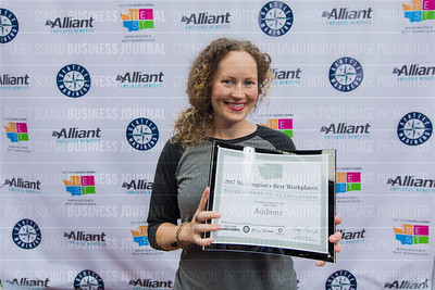 Mandy Maxwell of Audienz, recipient of the second place award for 2017 Washington's Best Workplaces (10-49 employees), poses during the Puget Sound Business Journal's Washington's Best Workplaces event at Safeco Field in Seattle on Thursday, August 3 , 2017. (BUSINESS JOURNAL PHOTO | Dan DeLong)