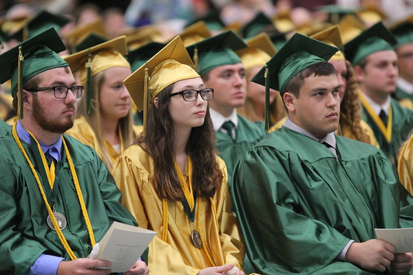 ADAM RANDALL | THE GOSHEN NEWS<br /> Jade Davidson, center, looks on during Wawasee's graduation ceremony Sunday.