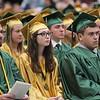 ADAM RANDALL | THE GOSHEN NEWS<br /> Jade Davidson, center, looks on during Wawasee's graduation ceremony Sunday.