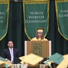 ADAM RANDALL | THE GOSHEN NEWS<br /> Wawasee High School class of 2017 salutatorian Lauren Bogart addresses fellow students