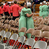 Roger Schneider | The Goshen News<br /> Two members of the Westview Jr.-Sr. High School eighth-grade class hug following the eighth-grade graduation and awards ceremony.