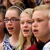 "Roger Schneider | The Goshen News<br /> Members of the Westview Junior High Choir sing ""Peace Song"" as part of the eighth-grade graduation and awards ceremony Wednesday. From left are Elizabeth Shartzer, Abigail Bontrager, Drew Walker, Landon Bennett and Philip Vinzce."