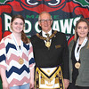 Emily Simonds and Taylor Hedrich, Young Maine Volunteer Roll of Honor members, with Tom Pulkkenin of the Free Masons