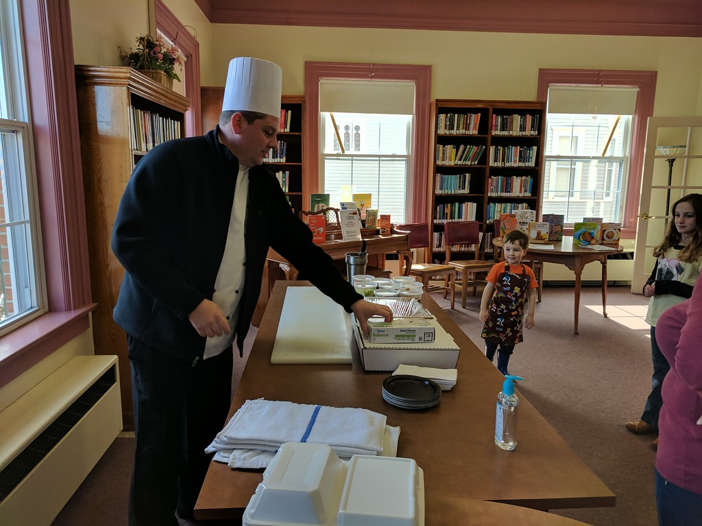 . Leah McDonald - Oneida Daily Dispatch Chef Jim Burdick sets up his sandwich-making station at the Oneida Public Library\'s Family Super Saturday cooking program on Saturday, March 4, 2017.
