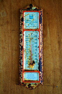 From a long unused Party Rec room: California thermometer that still shows accurate temps