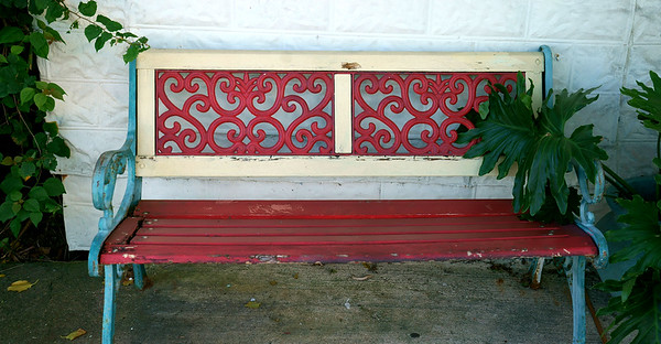 Downtown Red Bench