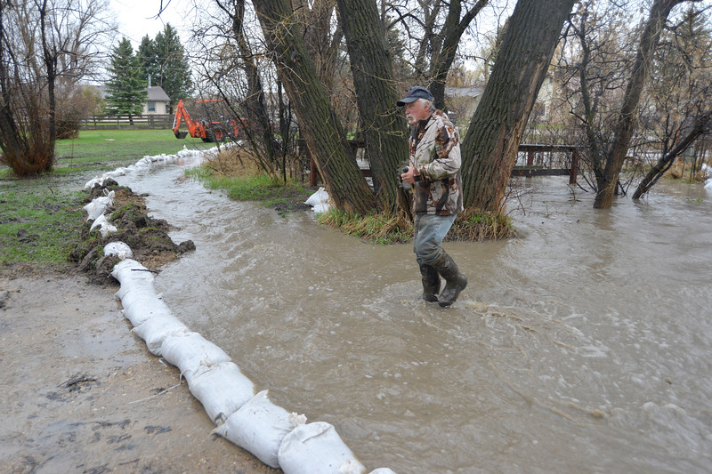 Justin Sheely | The Sheridan Press<br /> James Allison crosses High Street as water from the Jackson Creek spills over Friday afternoon in the town of Big Horn. Resident reported the flooding around 11 a.m. Friday morning after the water from the Jackson Creek began to flow over a culvert running under the intersection of 1st and High Streets near Big Horn School. Residents responded by filling sandbags to keep water from spilling into nearby homes. Big Horn Volunteer Fire Department responded by providing sandbags and clearing debris from culverts and drains. The National Weather Service has issued a flood advisory for parts of Sheridan County, which states that heavy rain and snow melt could lead to flooding along creeks and streams.