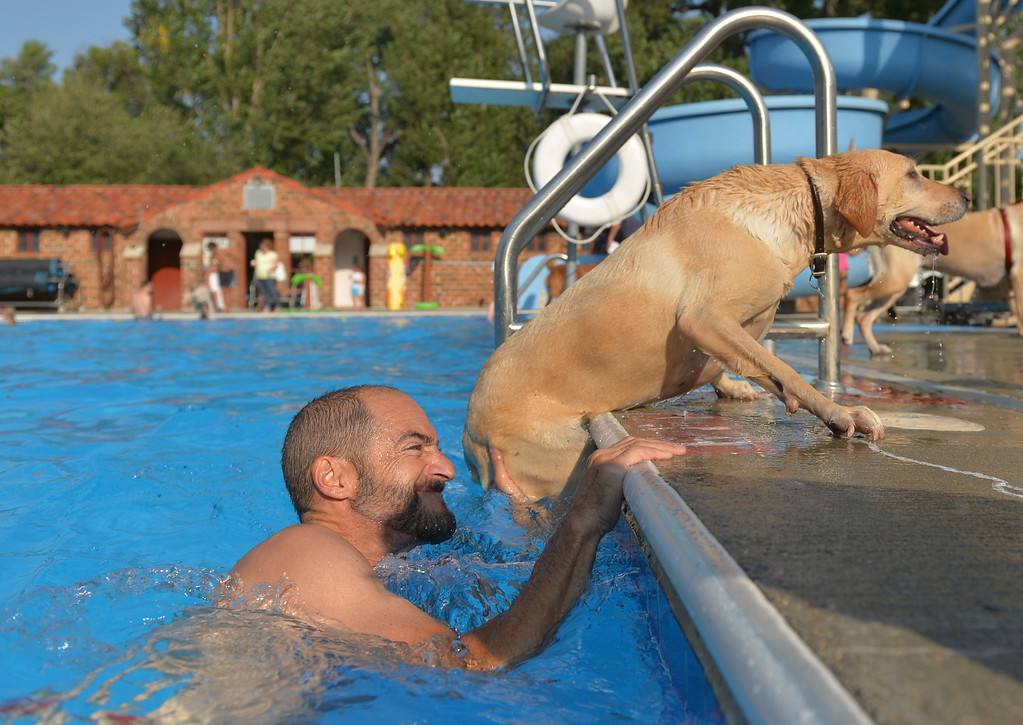 Justin Sheely | The Sheridan Press<br /> John Gaviotis helps Molly out of the pool during the Pooch Pool Party on the last open day of the season Saturday at Kendrick Park. The pools were made available to the furry friends after open swim ended on Saturday.