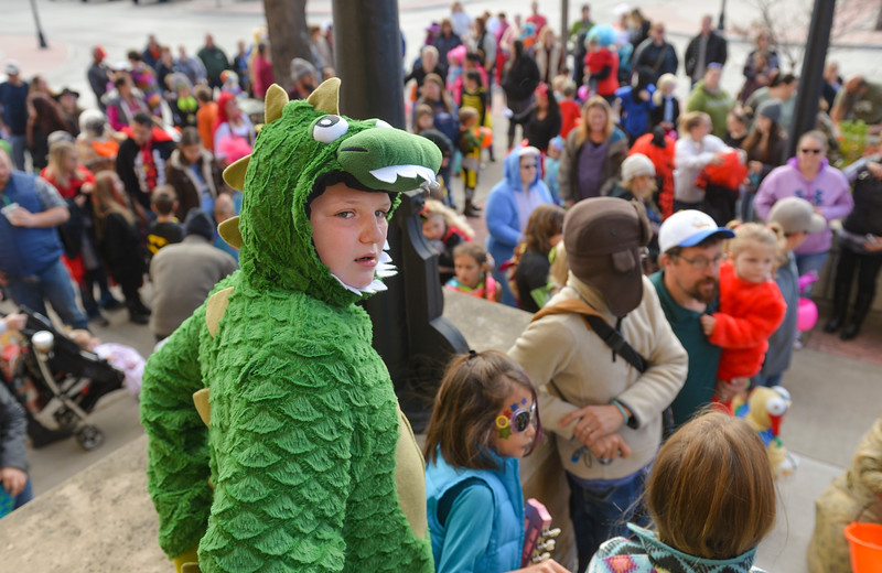 Justin Sheely | The Sheridan Press<br /> Eleven-year-old Tony Hagen-Wait looks over the crowd during the annual Jaycees Halloween Parade Saturday outside City Hall. Children were paraded in their costumes before judges who picked out the best boy and girl outfit in three age divisions. Following the contest was trick-or-treating at participating downtown businesses.