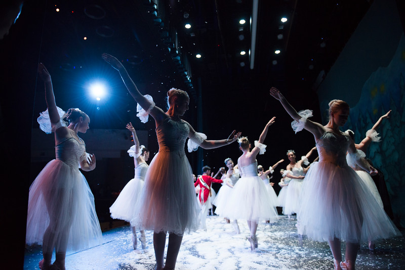 Justin Sheely | The Sheridan Press<br /> Local dancers, front, perform with company dancers during a dress rehearsal of the San Diego Ballet's Nutcracker Tuesday at the Whitney Center for the Arts Concert Hall. Local dance students play roles in the sold-out ballet performances this week.