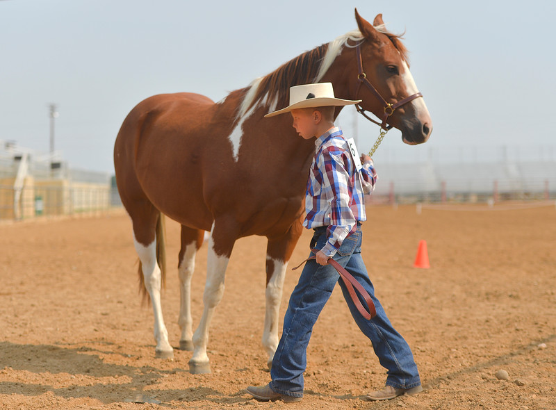 Justin Sheely | The Sheridan Press<br /> Kolten Powers leads his horse in the horse showmanship competition during the Sheridan County Fair at the Sheridan County Fairgrounds on Wednesday.
