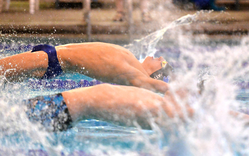 Justin Sheely | The Sheridan Press<br /> Sheridan's Oscar Patten launches at the start of the 200 SC Meter Medley Relay during the boys swim meet Friday at the Sheridan Junior High School Pool.