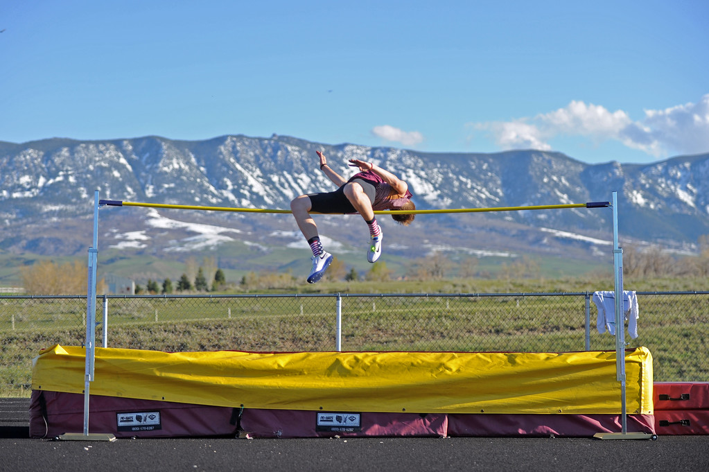 Big Horn high jumper Kade Van Dyken attempts to clear 6 feet at the Little Goose Jump and Throw Invite on Thursday, April 4 at Big Horn High School. Mike Pruden | The Sheridan Press