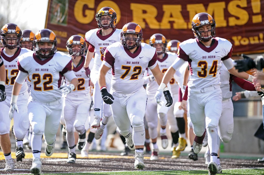 The Big Horn Rams run onto the field at the start of the 1A state championship on Saturday, Nov. 11 at War Memorial Stadium. Mike Pruden | The Sheridan Press